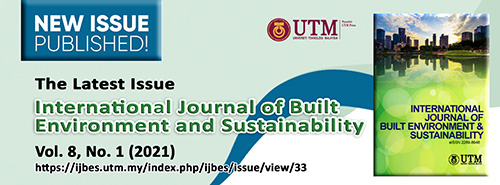 View Vol. 8 No. 1 (2021): International Journal of Built Environment and Sustainability, Volume 8, Issue 1, 2021